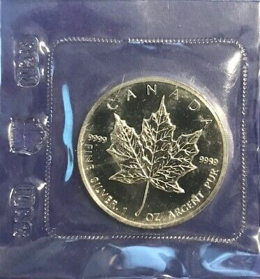 1989 CANADA $5 1oz Silver Maple Leaf Silver Bullion  .9999 PURE SILVER COIN