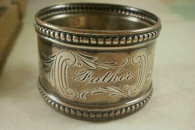 """Antique Gorham Sterling Silver Beaded Napkin Ring """"Father"""" engraving"""