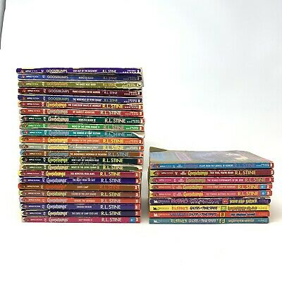 Lot of 32 Assorted R.L. Stine Paperbacks Goosebumps & Ghost of Fear Street Books