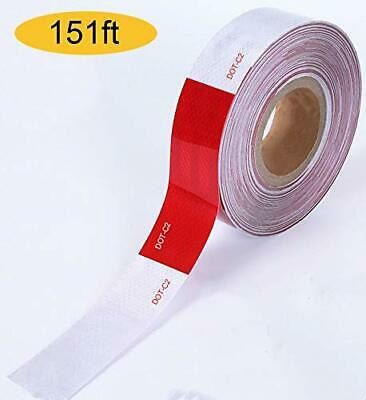 150 X 2 Red/White Trailer Reflector Gift Houseables Reflective Tape Roll Dot C2
