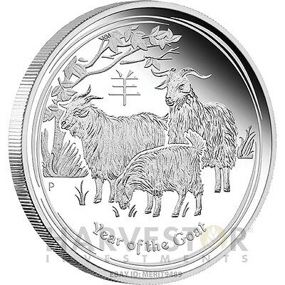2015 Australian Lunar Year Of The Goat - 1 Oz Silver Proof - Proof Silver Goat