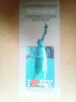 I LOVE NEW YORK VISITORS GUIDE AND MAP TWIN TOWERS 1990 New York City
