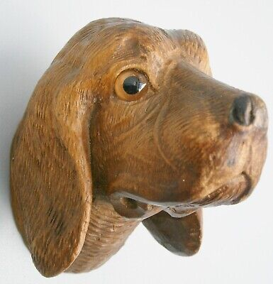 Fabulous Finely Hand Carved Hound Dog Head Black Forest