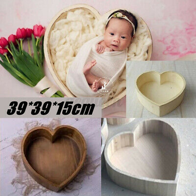 Wooden Heart Photography Prop Cot Baby Photo Bed Box Newborn Photographic Case