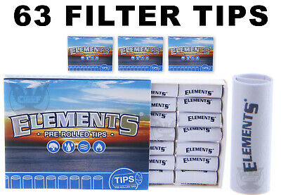 Elements Premium Pre-Rolled Tips (63 FILTER TIPS) for Rolling Papers - Free Ship