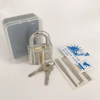 NEW Lock Pick Set Key Extractor Clear Padlock tools & Flashlight USA