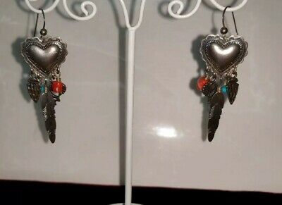 Vintage Native American Turquoise, Coral, and sterling fetishes drop earrings E2