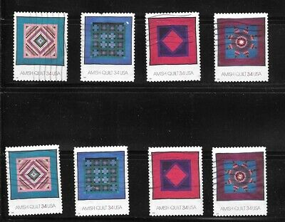 U S Stamps Used 3524 - 3527 Amish Quilts  One (1) Of These Vf Sets