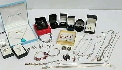 Job lot 925 Sterling Silver Jewellery Bracelets Necklaces Earrings Ring Vtg 203