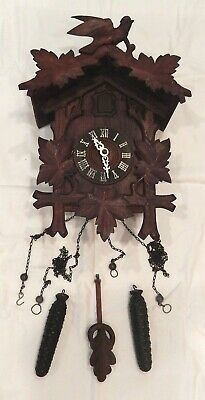 Traditional Carved Style Mechanical Black Forest Cuckoo Clock 8-day