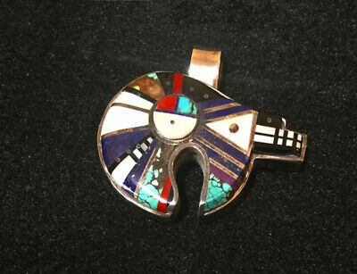 Pendant Native American bear, channel inlay, 1oz sterling silver, H Smith Navajo