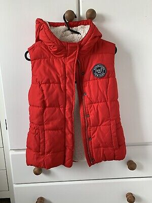 Girls Abercrombie And Fitch Red Hooded Gilet Bodywarmer Size XL