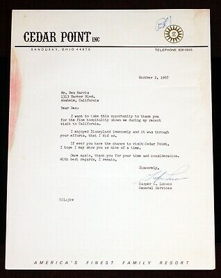 Disneyland 1967 Letter from Cedar Point Sandusky Ohio signed by Gasper C Lococo