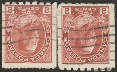 Canada Stamps # 124, 2¢, 1913, lot of 2 used coil stamps.