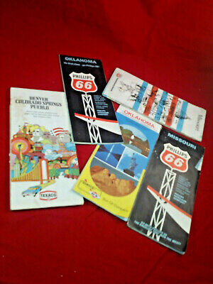 Vintage 1960s/70s Texaco Phillips 66 Sunoco DX Road Maps Oklahoma, Missouri, +