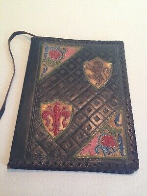 Vintage Embossed Hand Tooled Leather BOOK JOURNAL Jacket COVER