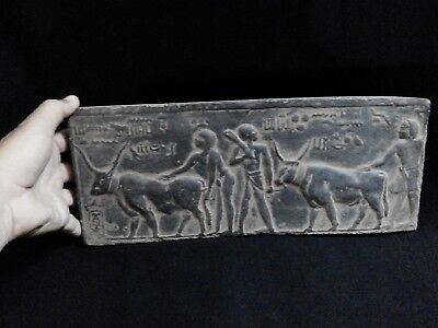 EGYPTIAN ANTIQUE ANTIQUITIES Farmers Plowing Field Stela Stele 1100-1001 BC