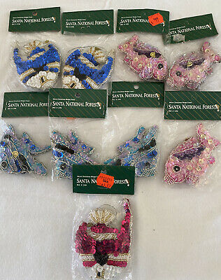 9 Sequin and Bead Fish Ornaments Santa National Forest NOS