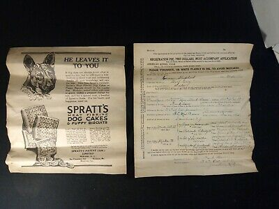 Antique 1925 Dog Registration Form and Spratts Dog Cakes and Puppy Biscuit Ad
