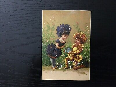 Victorian Trade Card Gold Incolor, 2 People Covered In Flower Clothing