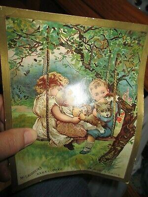 ANTIQUE ADVERTISING Mclaughlins Xxxx Coffee Trading Card CHILDREN SWINGING OLD