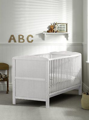 White Cotbed 140x70cm with Deluxe Sprung Mattress, Converable to Junior Bed