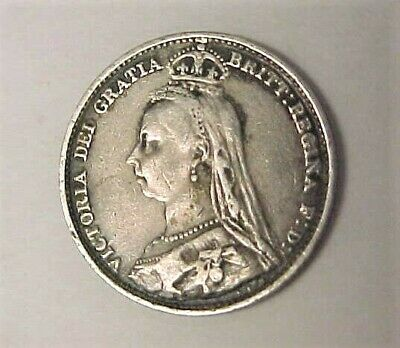 1892 Great Britain Queen Victoria  Jubilee 6 Pence Silver Coin - Free Shipping