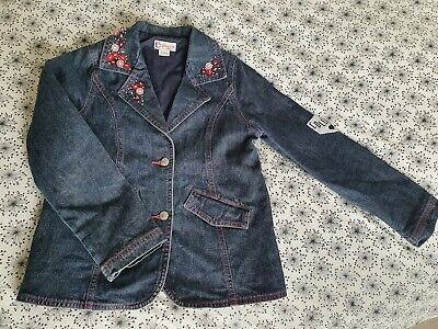 Girls Denim Jacket Age 8 Floriane French Designer Dark Blue Lined