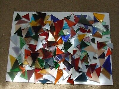 STAINED GLASS OFFCUTS, triangles, 500g, ideal mosaics, etc.