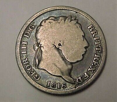 1816 GREAT BRITAIN - ONE SHILLING - .925 SILVER -  King George III
