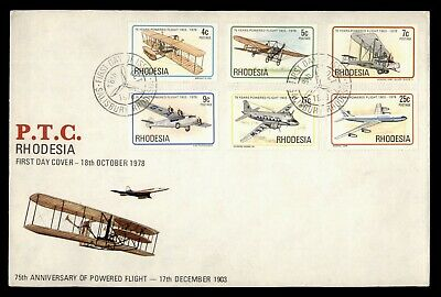 Dr Who 1978 Rhodesia Powered Flight 75 Years Fdc C181179