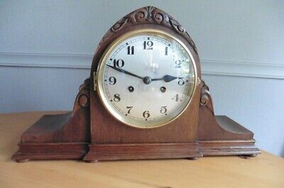 IMPRESSIVE c1900 EDWARDIAN 8 DAY LANCET STYLE OAK MANTEL CLOCK WITH GONG STRIKE