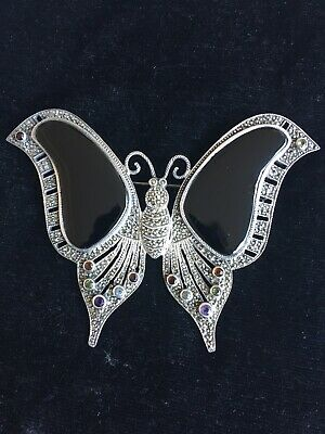 Fabulous Vintage Large Sterling Silver Marcasite Butterfly Brooch with Gem Stone