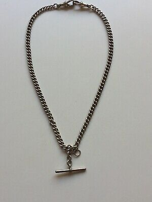 Antique Sterling Silver Fob Watch Chain/Necklace every link Hallmarked.