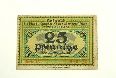 One  1919 Germany Notgeld 25 Pfennig Note Circulated Condition