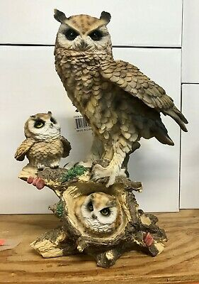 """White Baby Owlets resting on Branch Tree Branch Statue 7""""L Owls New"""