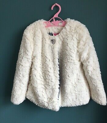 John Lewis Girls Soft White Fluffy Fur Jacket Age 5 Years Button Up