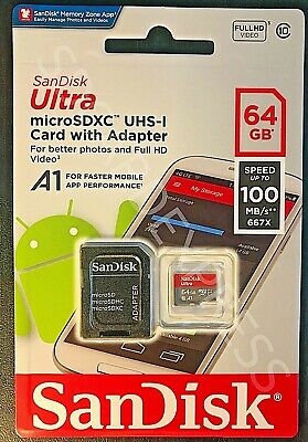 Genuine UK SanDisk Ultra 64GB 100MB/s Class 10 Micro SD SDXC UHS-I Memory Card