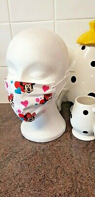 Brand new cotton face mask made from Disney Minnie Mouse fabric child age 8 - 12
