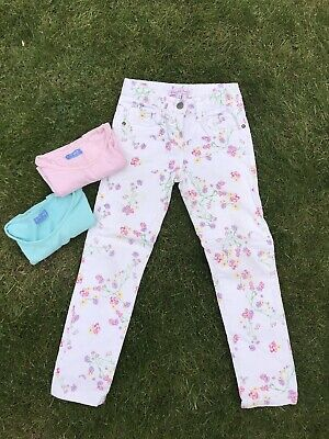 John Lewis Next Girls Age 7Yrs Outfits Pastel Pretty Tops /Flower Jeans  Cotton