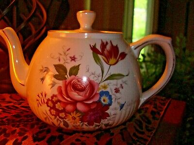 VTG Mid Century Ellegreave Ironstone Teapot  Rose Flower Garden- Wood and Sons