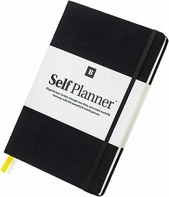 "Self Planner, Undated 6 Month Life Planner, 7""x10"" Notebook (Black)"