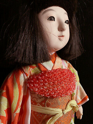 "Superb 17"" Japanese Ichimatsu gofun doll with glass eyes in glass display case"