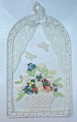 Vintage Dainty Hanging Doily Stitch Embroidery Bouquet Flowers Butterfly