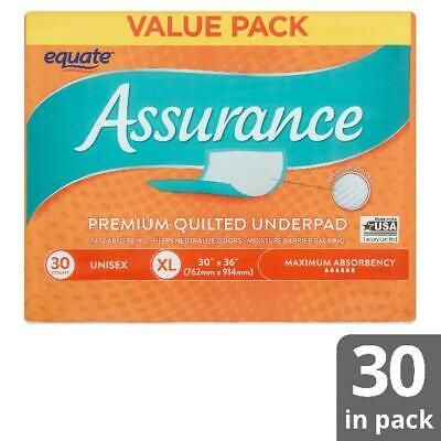 Equate Assurance Maximum Absorbency Uni Premium Quilted Underpad Value Pack, XL,