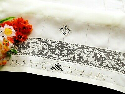 """Antique Cream Linen Italian Tablecloth - Handmade Lace Embroidery and Filet 31"""""""