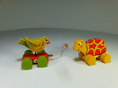 Lot of 2 Artisan Dollhouse Miniature Toys - Bird & Turtle -OOAK by Sara D.