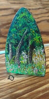 "Antique Folk Art Hand Painted Sad Iron 6"" Signed By Artist & Painted Both Sides"
