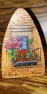 "Antique Folk Art Hand Painted Sad Iron 6"" Signed By Artist"