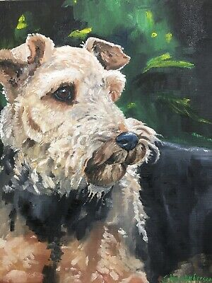 """Original Oil Painting (Airedale Terrier) """"King Of Terriers""""Hand Painted"""